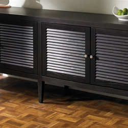 Sunpan Imports - Blake Sideboard w 4 Louvered Doors & Interior Shelves - The Blake sideboard features a low profile cabinet design for contemporary dining spaces. A black finish highlights four louvered doors accented with small metal knobs. It's an expansive piece that will also impress with its interior storage and top display options. Low profile classic contemporary sideboard. Shutter design doors. Shelves inside make storage effortless. 80.5 in. W x 18.5 in. D x 30.5 in. H