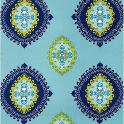 "F. Schumacher - Super Paradise Print Fabric, Pool - 2 Yard Minimum Order. From the Trina Turk Collection; Super Paradise Print is just one of many bright and beautiful patterns to choose from. Repeats - V27"" & H27""."