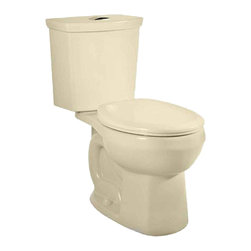 "American Standard - American Standard 2889.216.021 H2Option Dual Flush Round Front Toilet, Bone - American Standard 2889.216.021 H2Option Siphonic Dual Flush Round Front Toilet,  Bone. This round-front toilet features a vitreous china construction, a high-efficiency low-consumption 1.6 GPF flow rate, a round-front siphon action bowl with direct-fed jet, a 15"" rim height, a fully-glazed 2"" trapway, a 12"" Rough-in, a chrome plated top mounted push-button actuator, a sanitary dam on bowl, 2 color-matched bolt caps, and a design that meets EPA WaterSense critera."