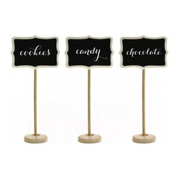 "Dress My Cupcake - Vintage Wooden Chalkboard Place Card Stands - Give your guests a simple and elegant way to navigate your event with our adorable and oh so practical chalk board place cards! These mini chalkboards make whimsical wedding favors, placecards and are perfect as table number signs. Their height makes them ideal for labeling contents on an overwhelming display that require standout tagging. In addition, these adorably vintage chalkboard frame place card signs are the perfect accessory to decorate your candy buffet tables, baked goods fundraisers and many more! * Set of 10 * Made of natural wood * Dimensions: H: 7"" W: 3"" x H: 2"" * Can be effortlessly customized with a stroke of chalk and decorated over and over again"