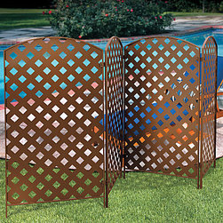 "Improvements - 4-Panel Bronzed Metal Privacy Screen - 23""x42"" - Keep your outdoor life private, and A/C units or trash cans out of view, when you put up a 4-Panel Bronzed Metal Privacy Screen. Use our 4-panel bronzed metal privacy screen to hide unsightly yard views, or to create a decorative ""wall"" between you and the neighbors. This outdoor privacy screen features traditional latticework design, and is beautifully crafted of stamped powder-coated steel in a bronze-color finish. The lattice-design sides will also support climbing vines, for even more privacy. The hinge assembly allows you to connect the privacy screens in a row, or at any angle. Set up the metal panels in your choice of three ways: 1) freestanding, 2) staked into ground (10"" stakes included), or 3) mounted to concrete or wood (hardware not included). Hinges are included so you can add additional panels to create a wider privacy screen or fence. The Metal Privacy Screen comes in a set of four 30"" x 52"" x 3/4"" panels."