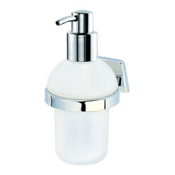 Geesa - Wall Mounted Soap Dispenser with Frosted Glass - Contemporary, decorative wall mounted round soap dispenser. Gel dispenser container is made from frosted or satin glass. Hand lotion dispenser pump and wall mount are made from brass in a polished chrome finish. Made in the Netherlands by Geesa. Contemporary, decorative wall soap dispenser. Container made from frosted or satin glass. Chromed brass pump and wall mount. From the Geesa Standard Hotel Collection.