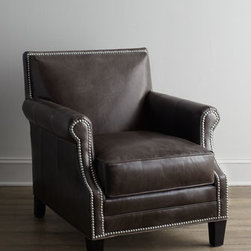 "Horchow - Grand Turk Leather Chair - Sturdy, no-nonsense chair gets the royal treatment with distinctive nailhead trim outlining the the arms, apron, and back. Engineered hardwood frame. Analine-dyed leather upholstery. Mortise-and-tenon frame construction. 29""W x 35""D x 33""T. Handcra..."