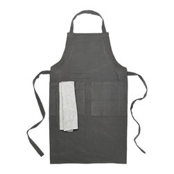 Bambeco Tiburon Organic Apron & Dishtowel Set in Charcoal - Give your kitchen essentials an organic lift with our Tiburon Organic Apron & Dish Towel Set. Crafted with sustainable textile production methods, each item is 100% organic cotton and colored with environmentally friendly, water-based dyes. Durable and irresistibly soft, you'll feel as good about owning them as you do using them.Available colors: Charcoal, Taupe, RedDimensions: Apron 28W x 35H, Dishtowel 15W x 17H.