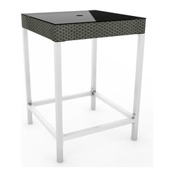 Sonax - Sonax Lakeside Bar Height Patio Table - Bring the party outside with this new bar height patio table from the Lakeside Collection. This contemporary table features a high gloss aluminum frame accented with a sleek River Rock Black Resin rattan Weave perfect for any outdoor space.