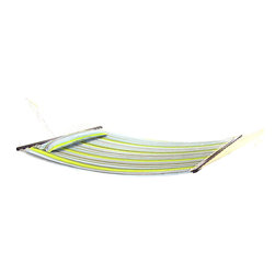 "Sunnydaze Decor - Quilted Double Fabric Hammock w/ Spreader Bar and Pillow by - Hammock dimensions: 12ft long overall; Hammock bed size: 78""L x 55""W"