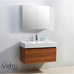 "Virtu USA - Virtu USA 39"" Zuri Single Sink Bathroom Vanity with Polymarble Countertop - Plum - This magnificent, ultra-modern vanity is the perfect example of quality. Take notice in the magnificent finish as well as the high gloss, polymarble basin. If storage is what you're looking for, this vanity contains two drawers on Bellucci soft closing slides that will be sure to hold all of your bathroom essentials. Featuring both design, as well as practicality, the decision to upgrade to this vanity will always be an easy one.Virtu USA has taken the initiative by changing the vanity industry and adding soft closing doors and drawers to their entire product line. By doing so, it will give their customers benefits ranging from safety, health, and the vanity's reliability.FeaturesMain cabinet: 39"" W x 18.5"" D x 23.4"" HMirror/Medicine cabinet: 35.6"" W x 6"" D x 25.6"" HMaintenance-free high gloss polymarble countertop with integrated basinPlum finishWater resistant low V.O.C sealerPlywood and Composite with MelamineAdjustable slidesMain cabinet: 1 Revealed drawer with BELLUCCI' soft closing slidesMain cabinet: 1 Concealed drawer with BELLUCCI' soft closing slidesMirror/Medicine cabinet: 2 Doors with BLUM' soft closing hingesPre-drilled single hole faucet mountMinimal assembly requiredPS-103 Faucet with Pop Up and Drain Assemblies Included CUPC, UPC and IAPMO Certified Faucet with Limited Lifetime Warranty Lead-Free Faucet Compliant with AB1953 and S152 Eco-Friendly WaterSense Certified 1.5 GPM flow rateHow to handle your counterView Spec Sheet"