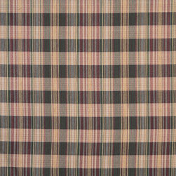 Red, Gold And Green, Textured Plaid Upholstery Grade Fabric By The Yard - Textured timeless plaids and stripes are excellent for all indoor upholstery.