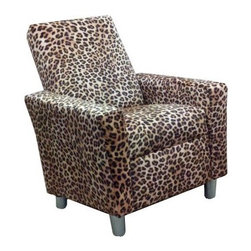 Dozydotes Modern Recliner - Leopard - Yeah, the Dozydotes Modern Recliner - Leopard is pretty cool. It's crafted of solid hardwood and is upholstered in sweet leopard fabric. It features an easy-recline system that makes relaxing a breeze.About DozydotesDozydotes' mission is to bring joy to children and confidence to shoppers, which Dozydotes achieves by offering exclusive designs and high quality products. The brainchild of experienced mother Rene Campbell and elementary educator Alisa Clark-Slodoba, Dozydotes aims to bring smiles to the faces of children and parents alike with fun, creative products. Designed with kids in mind, Dozydotes recliner chairs are miniature versions of the real thing and are equally attractive, meaning your child will have a custom-sized chair that will look great in your home.