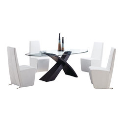Global Furniture USA - DG018DT + D105DC-WH Black Veneer & White PVC Five Piece Dining Set - This contemporary dining set is a great addition to any decor that is looking to add a modern touch. The centerpiece of this set is the glass top table with an interesting design, an X shaped base in a black finish. The white dining chairs in this set match nicely, giving the set a unique style with warm matching colors. These chairs come upholstered in a beautiful white leatherette material. This Dining Room Set is constructed of high quality wood veneers, glass and leatherette. The dining set includes the dining table and four chairs only.
