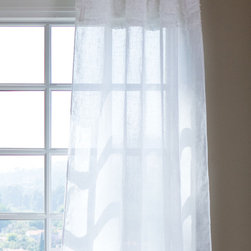 Lulu Sheer Panel - Elegantly sheer white linen is daintily accented with rows of petite double ruffles.