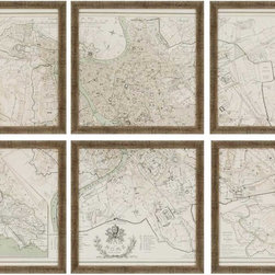 Paragon Decor - Rome Set of 6 Artwork - Map of Rome print is cut into six separate images and framed in distressed gold molding.