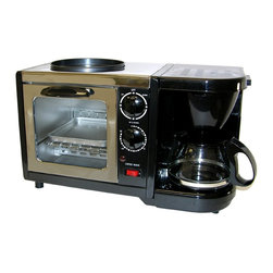 SPT Appliance - 3-in-1 Stainless Steel Breakfast Maker w Coff - Ideal for hospitality suites, efficiency hotels, or the company break room, the 3-in-1 breakfast maker has everything you need to make your guests or clients feel right at home.  Stylish unit in stainless steel and black finish includes a four-cup coffee maker, dual-element toaster oven, and non-stick frying pan.  Whip up a complete nutritional breakfast in no time with this one affordable unit.  Perfect when space is limited, this versatile and affordable appliance is just right for studio apartments, dorm rooms, and campers. 4 cups coffee maker. 5 liters capacity toaster oven. Nonstick frying pan. Stainless steel. Heat resistant glass. Reusable coffee filter. Toaster oven with 15 minutes timer. Baking rack and tray. convenient switch selects upper frying pan, lower toaster oven or both. ETL. Input voltage: 120V / 60Hz. Coffee maker: 650 W. Toaster oven: 500 W. Frying pan: 300 W. Coffee maker: 4 cups. Toaster oven: 5 L. 8 in. W x 15.5 in. D x 9.5 in. H (7.5 lbs.)SPT 3-in-1 Breakfast Maker combines all the breakfast necessities into one: Toaster Oven, Coffee Maker and Frying Pan. This is the perfect compact appliance for dorms, offices, RV's, studios or wherever space is limited. You can brew a fresh cup of coffee, toast a croissant and fry up an egg all at once!