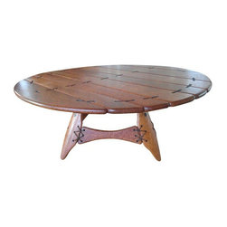 Pre-owned Vintage Hawaiian Coconut Wood Leather Coffee Table - A very unusual coffee table made of coconut wood and leather. Produced in Hawaii in the 1970s, it's in excellent original condition with a lovely patina.