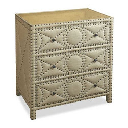 Interlude Home - Interlude Home Camila Accent Chest - This Interlude Home Accent Chest is crafted from Wood and Linen and Mirror and Metal and finished in Tan Linen and Antique Mirror and Antique Brass.  Overall size is:  34 in. W  x  23 in. D x 36 in. H.