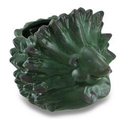 Zeckos - Ceramic Hedgehog Figurine Weathered Finish Planter - Perfect to house your favorite plant or flowers in the entryway, on the patio, or to grow your own herbs in the kitchen, this ceramic 7 inch high, 8 inch long, 7.5 inch wide (18 X 20 X 19 cm) hedgehog boasts a glossy weathered finish, and will happily accept your keys, spare change or decorative candles, too The foam pads on the bottom help protect delicate display surfaces from scratches, and it looks great on shelves, tabletops and bookcases whether in your home or at the office. This hedgehog planter figurine is wonderful as a gift sure to be enjoyed