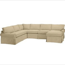 """PB Basic Left 4-Piece Chaise Sectional Slipcover, everydaysuede(TM) Oat - Designed exclusively for our PB Basic Sectional, these easy-care slipcovers have a casual drape, retain their smooth fit, and remove easily for cleaning. Select """"Living Room"""" in our {{link path='http://potterybarn.icovia.com/icovia.aspx' class='popup' width='900' height='700'}}Room Planner{{/link}} to select a configuration that's ideal for your space. This item can also be customized with your choice of over {{link path='pages/popups/fab_leather_popup.html' class='popup' width='720' height='800'}}80 custom fabrics and colors{{/link}}. For details and pricing on custom fabrics, please call us at 1.800.840.3658 or click Live Help. All slipcover fabrics are hand selected for softness, quality and durability. {{link path='pages/popups/sectionalsheet.html' class='popup' width='720' height='800'}}Left-arm or right-arm configuration{{/link}} is determined by the location of the arm on the love seat as you face the piece. This is a special-order item and ships directly from the manufacturer. To view our order and return policy, click on the Shipping Info tab above."""