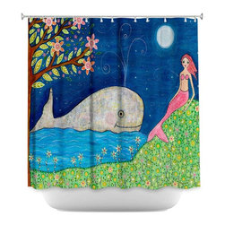 DiaNoche Designs - Shower Curtain Artistic - Whale Mermaid - DiaNoche Designs works with artists from around the world to bring unique, artistic products to decorate all aspects of your home.  Our designer Shower Curtains will be the talk of every guest to visit your bathroom!  Our Shower Curtains have Sewn reinforced holes for curtain rings, Shower Curtain Rings Not Included.  Dye Sublimation printing adheres the ink to the material for long life and durability. Machine Wash upon arrival for maximum softness. Made in USA.  Shower Curtain Rings Not Included.