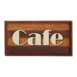 Amazingly Useful Wood Cafe Wall Sign - Description: