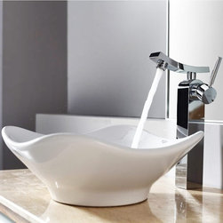 Kraus - Kraus White Tulip Ceramic Sink and Unicus Faucet - Add a touch of elegance to your bathroom with a ceramic sink combo from Kraus