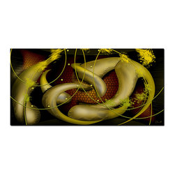 """Fabuart - """"Metamorphosis"""" - Abstract Gold Snake Artwork - 1 panel - 32 x 16 in - This beautiful graphic design is printed in high quality fade resistant ink on high quality canvas, stretched around 1 inch wooden sub frames and arrives ready to hang on the wall."""