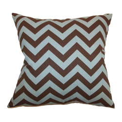 """The Pillow Collection - Xayabury Zigzag Pillow Village Natural 20"""" x 20"""" - This zigzag throw pillow comes with an engaging print pattern that would certainly liven up your space. This accent pillow features a stunning print pattern in brown and blue hues. This decor pillow adds a rustic and relaxing vibe to your living room or bedroom. Throw this square accessory with other zigzag pillows for a fun decor style. Made from 100% high-quality cotton fabric. Hidden zipper closure for easy cover removal.  Knife edge finish on all four sides.  Reversible pillow with the same fabric on the back side.  Spot cleaning suggested."""
