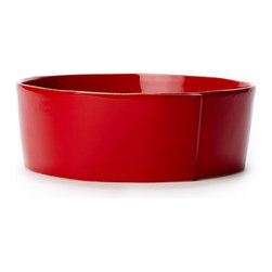 "Vietri - Vietri Italian Stoneware Lastra Large Serving Bowl 10.75""D, 4""H, Red - Family meals turn fashionable when placing hot pasta or steaming side dishes in this Lastra large serving bowl. Create a fun set of 4 stacking bowls by pairing the Lastra condiment bowl, cereal bowl, medium serving bowl and large serving bowl. Made in Tuscany of Italian stoneware. Microwave, freezer, dishwasher and oven safe and highly resistant to chipping."