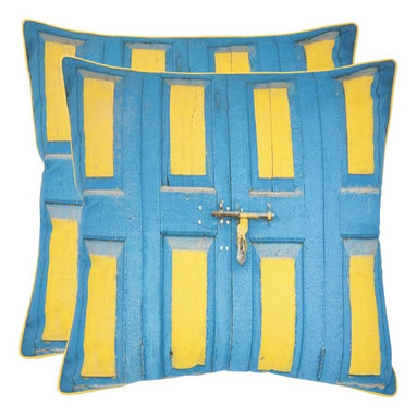 Safavieh - Safavieh Nador Decorative Pillows - Aqua / Yellow - Set of 2 Multicolor - PIL451 - Shop for Pillows from Hayneedle.com! Full of character and a touch of whimsy you'll love the brilliant colors on the Safavieh Nador Decorative Pillows - Aqua / Yellow - Set of 2. Available in your choice of size these knife edged throw pillows are made from 100% cotton have a hypoallergenic fiberfill insert and a secured zipper closure. Spot clean only. About SafaviehConsidered the authority on fine quality craftsmanship and style since their inception in 1914 Safavieh is most successful in the home furnishings industry thanks to their talent for combining high tech with high touch. For four generations the family behind the Safavieh brand has dedicated its talents and resources to providing uncompromising quality. They hold the durability beauty and artistry of their handmade rugs well-crafted furniture and decorative accents in the highest regard. That's why they focus their efforts on developing the highest quality products to suit the broadest range of budgets. Their mission is perpetuate the interior furnishings craft and lead with innovation while preserving centuries-old traditions in categories from antique reproductions to fashion-forward contemporary trends.