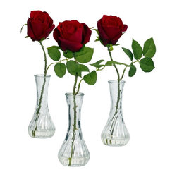 Rose with Bud Vase (Set of 3) - The deal of the year is right here - this luscious set of three beautiful roses, replete with stems, leaves, and even faux thorns, each standing tall in its own bud vase (complete with liquid illusion faux water). The rose signifies love, and why not - the soft, full petals of the blooms is unlike any other, and represents nature at its finest. And since you get three, you can decorate all over your home (or buy them as gifts / party favors for friends). Height= 12 in x Width= 3 in x Depth= 3 in