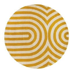 """Chandra - Contemporary Thomaspaul Round 7'9"""" Round Yellow-White Area Rug - The Thomaspaul area rug Collection offers an affordable assortment of Contemporary stylings. Thomaspaul features a blend of natural Yellow-White color. Hand Tufted of New Zealand Wool the Thomaspaul Collection is an intriguing compliment to any decor."""