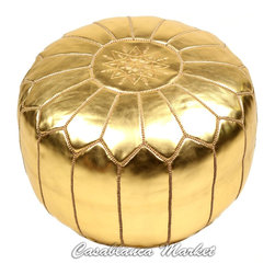 Moroccan Embroidered Leather Poof, Gold - This gold pouf is the perfect little seat for any adventurer.