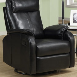 Monarch Specialties - 36 in. Rocker Recliner - (Ivory) - Choose Upholstery: IvorySwivel recliner. Padded head rest for ultimate comfort. Easy glide motion. Contemporary design. Warranty: One year manufacturers. Made from bonded leather. Assembly required. 36 in. W x 30 in. D x 40 in. H (88 lbs.)This contemporary design accent chair combines three functional elements, ensuring that you are always in a comfortable position. Whether reading a book or watching sports this will be the chair that everyone will want to sit on. The Contemporary design makes it a chic and fashionable addition for your den, bedroom, living room or basement. It truly is a chair for any room in your home.