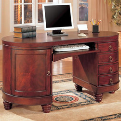 "Coaster - Double Pedestal Computer Desk - Traditional style. Kidney shaped. Elegant kidney shaped top with smooth edges. Five drawers. Two pedestals curve on the sides. Parquet inlaid fronts. Curved door, opening to reveal a CPU storage cabinet. Four spacious storage drawers. Center drop front pullout keyboard drawer. Antiqued brass finished metal hardware. Pretty bun feet. Made from wood and metal. Cherry color. 60 in. W x 30 in. D x 31 in. H. WarrantyThis group of desks and computer units has something for everyone. Different styles, sizes, and finishes are available to suit every taste and meet your needs. Ample storage options, excellent functional features, and sophisticated style come together. From compact laptop table on wheels, to large ""L"" shaped office workstation, this collection has a desk that you will love. Enjoy comfortable computing and working from home, with one of these cool desks."