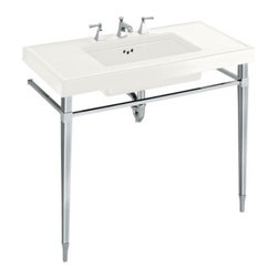 "KOHLER - KOHLER K-3029-0 Kathryn 42"" x 22"" Fireclay Console Table Top with 10"" Centers in - KOHLER K-3029-0 Kathryn 42"" x 22"" Fireclay Console Table Top with 10"" Centers in WhiteFinish your bath or powder room with the timeless sophistication of a Kathryn fireclay console table top, which features drilling for faucets with 10"" centers, and is precut for a Kathryn 21"" x 13"" undercounter lavatory. Complete the table with your choice of legs to enhance your decor.Please see our Delivery Notes for Freight Shipments for products that are oversized and/or are too heavy to ship UPS ground. KOHLER K-3029-0 Kathryn 42"" x 22"" Fireclay Console Table Top with 10"" Centers in White, Features:• Coordinates with Kathryn Suite to create a sophisticated, upscale bathroom"