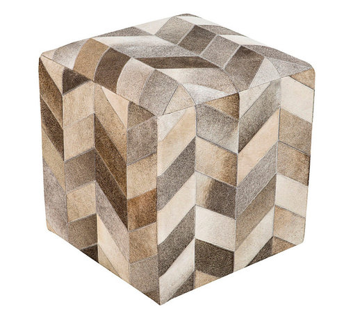 Trail Leather Chevron Pouf - A graphic, architectural piece despite the softness of its outline, this Trail Leather Chevron Pouf has been expertly hand-pieced in India, the multiple shades of grey, white, tan, and taupe hides coming together into a dynamic neutral pattern with a distinctive sense of movement. The upscale end of casual furnishings, this pouf is a striking home accessory.
