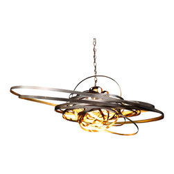 "Bodner Chandeliers - Saturn - One-of-a-kind light sculpture constructed of hand cut and formed steel. Finished in an antique bronze with a gold gilt rub interior. Fitted with a standard A lamp socket. UL listed for indoor use. Accepts any LED, Incandescent or fluorescent type ""A"" lamp up to 100 watts. Winner of interior Design Magazines Best Of Year Merit award."