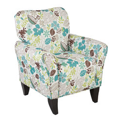 Upton Home - Upton Home 'Margo' Teal Floral Upholstered Arm Chair - The Margo accent chair is a chic and charming addition to any room. Upholstered in a multicolored teal-themed floral pattern,this elegant,sloping arm chair features a plush,cushioned seat and backrest for ultimate comfort.