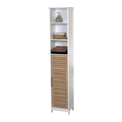 Bathroom Linen Tower Cabinet 1 Door + 2 Shelves MDF Stockholm Oak - This bathroom linen tower cabinet Stockholm is in medium-density fiberboard (MDF). This bath furniture features a tall painted oak-finish door, chrome drawer handles and two shelves inside to help banish clutter from your bathroom. The two fixed open shelves are ideal for towels, toiletries and knick-knacks. It's an easy and elegant way to fit more necessities into your bathroom and maximize your bathroom's space. This elegantly-designed linen cabinet is easy to assemble with the included hardware and can even be secured to a wall if desired. Assembly instructions are supplied. Length 13.8-Inch, depth 10.3-Inch and height 68-Inch. Color brown. This linen cabinet provides an elegant addition to any bathroom with a clean modern look. Complete your Stockholm decoration with other products of the same collection. Imported.