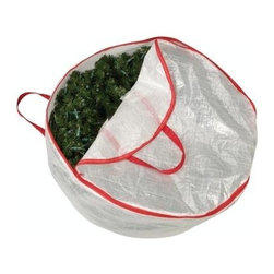 """Household Essentials - Mighty Stor Wreath Bag: Large - For every beautiful change of season there is a chance to change your wreath.  Protect your festive pieces by storing them in a protective Mighty Stor® Wreath Bag and never again suffer the sadness of a wreath ruined by unexpected water damage or crawling visitors.  Cut to fit your wreaths and made of durable tear-proof polyethylene these bags help preserve the life and appearance of these wonderful and festive decorations.  Adorn your door and celebrate every season with beautifully pristine wreaths year after year.-DetailsMade of tear-proof polyethylene. Protects holiday and seasonal wreaths from dust and moisture. Sturdy carrying handles and a durable zippered closure. Holds wreaths up to 32"""" in diameter.Dimensions:Length: 30""""Width: 30""""Depth: 8"""""""