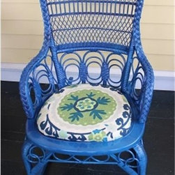 Blue Vintage Wicker Rocker- Austin - This blue vintage wicker rocker is refinished and ready for your porch or even your bedroom. This unique addition to your home can be found at Red Chair Market.