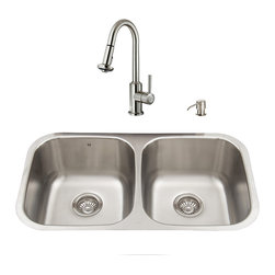 """VIGO Industries - VIGO All in One 32-inch Undermount Stainless Steel Kitchen Sink and Faucet Set - Breathe new life into your kitchen with a VIGO All in One Kitchen Set featuring a 32"""" Undermount kitchen sink, faucet, soap dispenser, matching bottom grids, and strainers."""