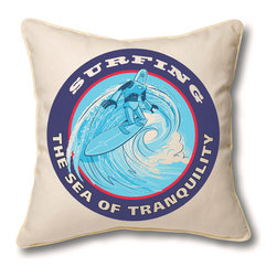 Museum of Robots - Pillow Cover: Surfing the Sea of Tranquility - Imagine intergalactic travel with one of our Space Travel Series pillow covers. Looking for a souvenir of that surfing trip to the Sea of Tranquility? Here is that renown surf spot's most famous athlete, rendered beautifully on a pillow cover. Art by illustrator Josh Ellingson.