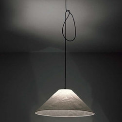 """Ingo Maurer - Ingo Maurer Knitterling pendant light - The Knitterling pendant light has been designed by Ingo Maurer. This pendant light is a classic example of simplistic appealing design. A special length of 177"""" (450 cm) is available upon request otherwise, the 78 3/4"""" (200 cm) is included.  Product description:  The Knitterling pendant light has been designed by Ingo Maurer. This pendant light is a classic example of simplistic appealing design. A special length of 177"""" (450 cm) is available upon request otherwise, the 78 3/4"""" (200 cm) is included.  Details:     Manufacturer: Ingo Maurer      Designer:   Ingo Maurer     Made in: Germany   Dimensions:  Width: 23 5/8"""" (60 cm) X Height: 9 1/2"""" (24 cm)     Light bulb:: 1 x 60W recommended Incandescent   Material: Japanese paper shades, black canopy and cable"""