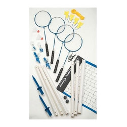 """Halex Products - Halex Products - Select Badminton Set - 1 3/8"""" Diameter Octagon Telescoping PVC Poles. 5\'1"""" Height. Deluxe 2 Color Net:  20\' x 1-1/2\' Sleeve Style. 4 PC Tempered Steel Rackets w/ Grommets and Padded Grips. 2 Shuttlecocks. Double Guide Rope System. Tension Clips. Pole Anchors. Stakes. Court Marking Kit"""