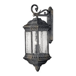 Hinkley Lighting - Hinkley Lighting 1726BG Regal Traditional Outdoor Wall Sconce - Regal has a grand Old World style that features elegant decorative stamped detailing in a Black Granite finish combined with clear seedy water glass for added sophistication