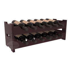 12 Bottle Mini Scalloped Wine Rack in Redwood with Burgundy Stain + Satin Finish - Stack two 6 bottle scalloped racks for a decorative 12 bottle rack using pressure-fit dowels for easy assembly. Makes for a perfect gift and stores wine on any flat surface.