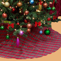 None - Plaid Holiday Theme Christmas Tree Skirt - Decorate your home with this attractive and fun tree skirt. This skirt has a plaid pattern and nylon construction for durability.