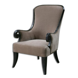 Uttermost - Uttermost Kandy Arm Chair in Taupe - Lush Taupe Velvet on a Black Stained, Solid Poplar Frame with Antiqued Brass Accent Nails. Teflon Brand Stain Resistant Fabric.