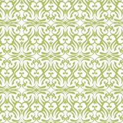 flourish print wallpaper in celadon - I am dreaming of a tiny half bath covered in this wallpaper. I'm also dreaming of papering my ceiling in it - wouldn't that be fabulous?