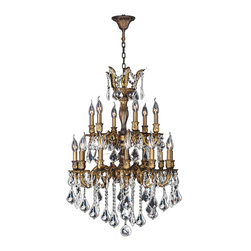 "Worldwide Lighting - Versailles 18 Light Antique Bronze Finish & Crystal Chandelier 24"" D Two 2 Tier - This stunning 18-light Chandelier only uses the best quality material and workmanship ensuring a beautiful heirloom quality piece. Featuring a cast aluminum base in Antique Bronze finish and all over clear crystal embellishments made of finely cut premium grade 30% full lead crystal, this chandelier will give any room sparkle and glamour. Worldwide Lighting Corporation is a privately owned manufacturer of high quality crystal chandeliers, pendants, surface mounts, sconces and custom decorative lighting products for the residential, hospitality and commercial building markets. Our high quality crystals meet all standards of perfection, possessing lead oxide of 30% that is above industry standards and can be seen in prestigious homes, hotels, restaurants, casinos, and churches across the country. Our mission is to enhance your lighting needs with exceptional quality fixtures at a reasonable price."